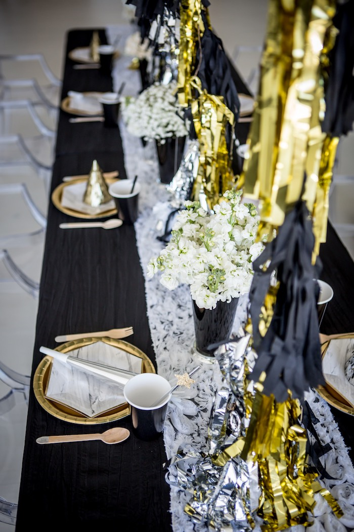"""Silver & Gold Guest Table from a """"Shoot for the Moon"""" Birthday Party on Kara's Party Ideas 