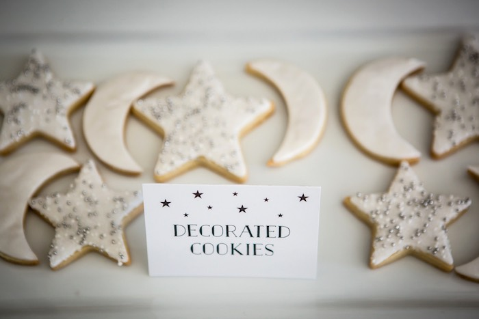 """Moon & Star Cookies from a """"Shoot for the Moon"""" Birthday Party on Kara's Party Ideas 