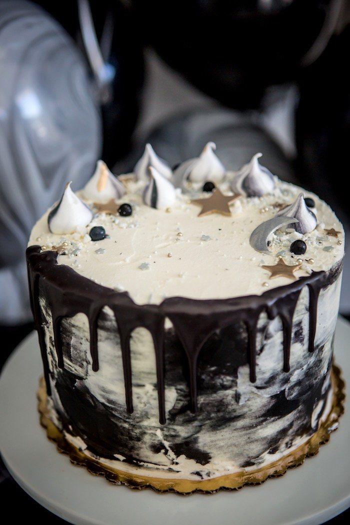 """Moon-inspired Cake from a """"Shoot for the Moon"""" Birthday Party on Kara's Party Ideas 