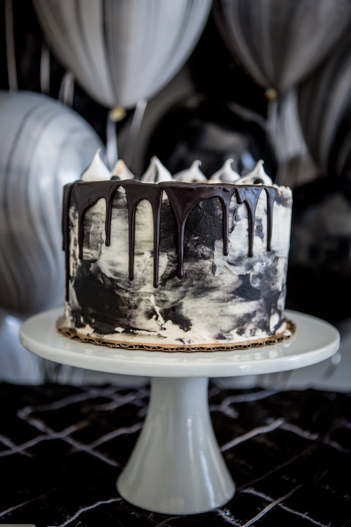 """Moon-inspired Drip Cake from a """"Shoot for the Moon"""" Birthday Party on Kara's Party Ideas 