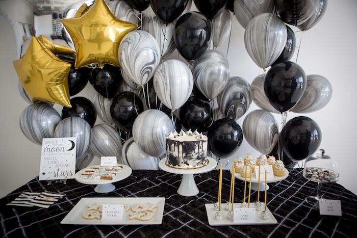 "Moon Themed Sweet Table from a ""Shoot for the Moon"" Birthday Party on Kara's Party Ideas | KarasPartyIdeas.com (11)"