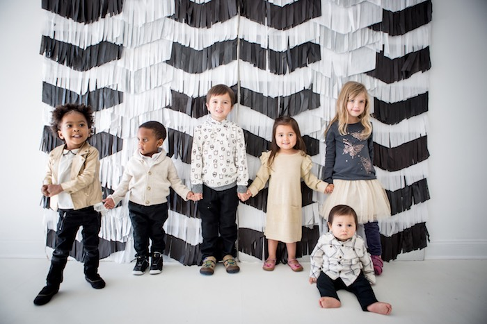 "Black & White Chevron Backdrop + Photo Booth from a ""Shoot for the Moon"" Birthday Party on Kara's Party Ideas | KarasPartyIdeas.com (28)"