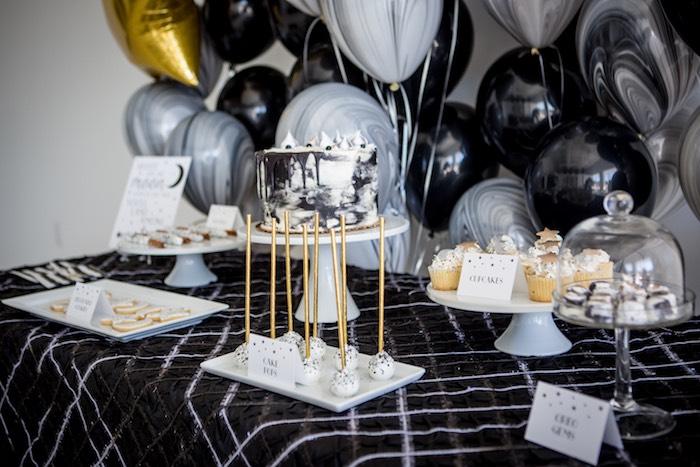 "Moon Themed Sweet Table from a ""Shoot for the Moon"" Birthday Party on Kara's Party Ideas | KarasPartyIdeas.com (7)"