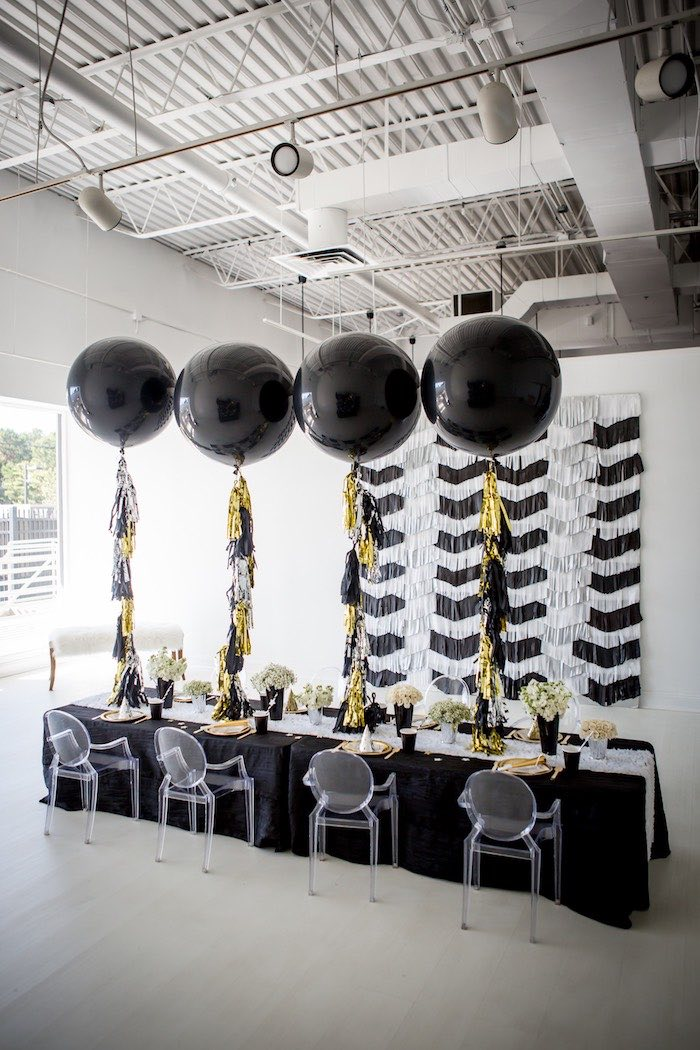 """Moon-inspired Guest/Party Table from a """"Shoot for the Moon"""" Birthday Party on Kara's Party Ideas 