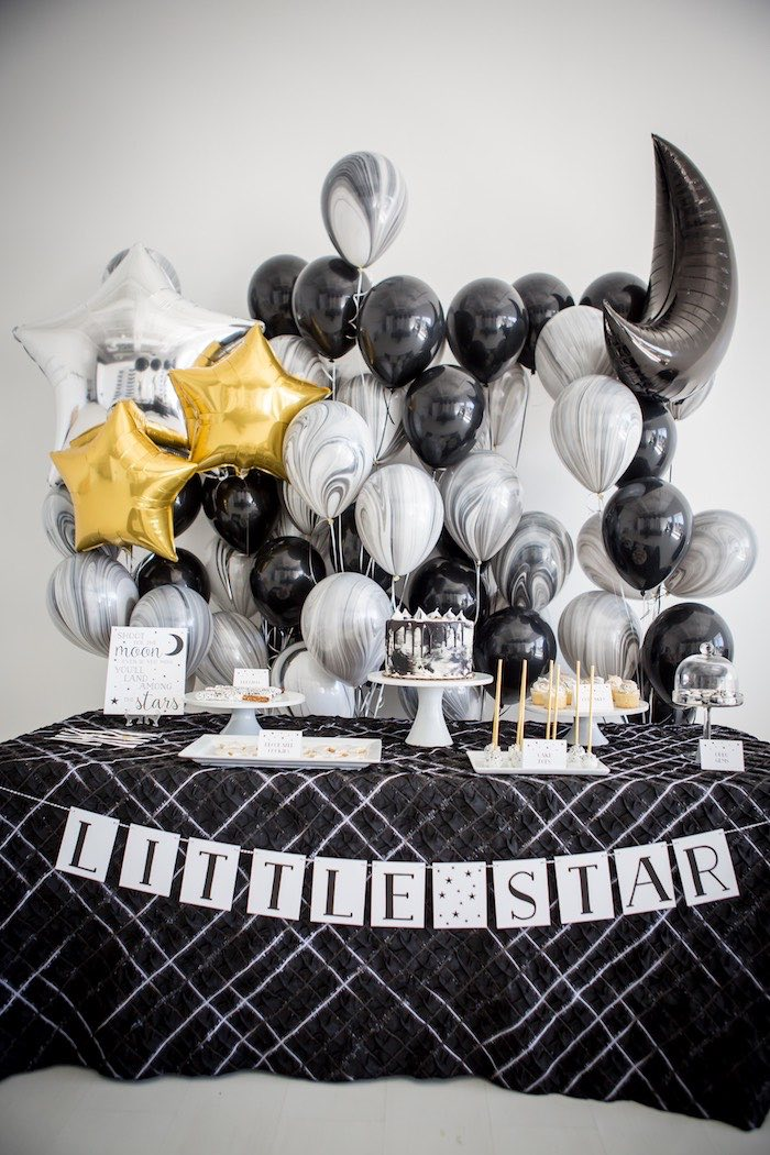 """Moon-inspired Dessert Table from a """"Shoot for the Moon"""" Birthday Party on Kara's Party Ideas 