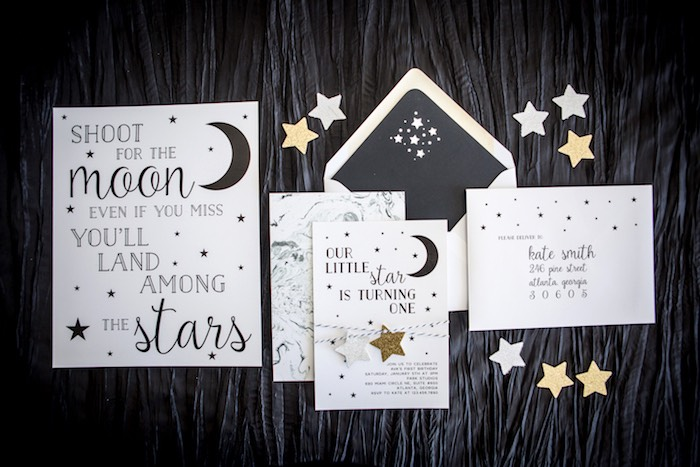 """Moon-inspired Party Signage from a""""Shoot for the Moon"""" Birthday Party on Kara's Party Ideas 