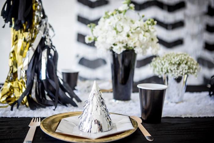 """Moon-inspired Table Setting from a """"Shoot for the Moon"""" Birthday Party on Kara's Party Ideas 