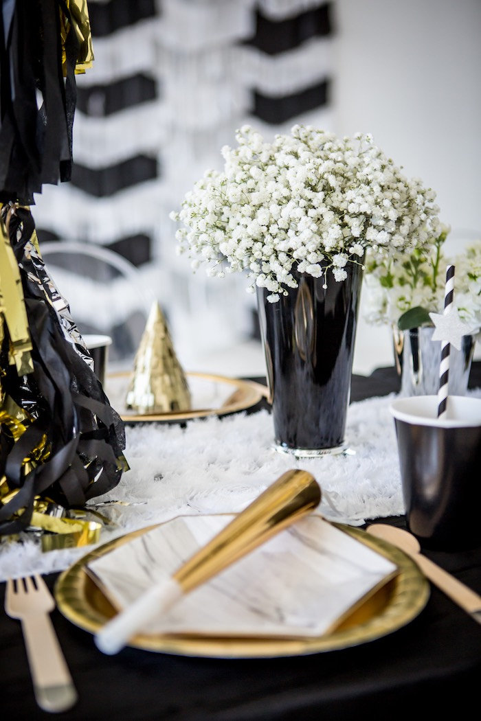 """Silver + Black and Gold Party Table from a """"Shoot for the Moon"""" Birthday Party on Kara's Party Ideas 