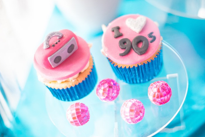 90s Cupcakes From A Themed Birthday Party On Karas Ideas