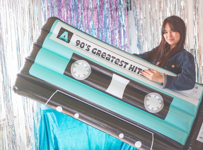 Inflatable Cassette Tape from a 90's Themed Birthday Party on Kara's Party Ideas | KarasPartyIdeas.com (5)