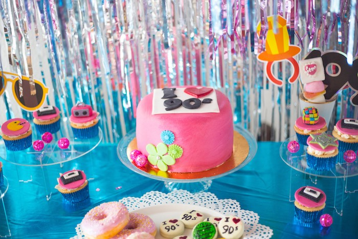 90's Cake Table from a 90's Themed Birthday Party on Kara's Party Ideas | KarasPartyIdeas.com (21)