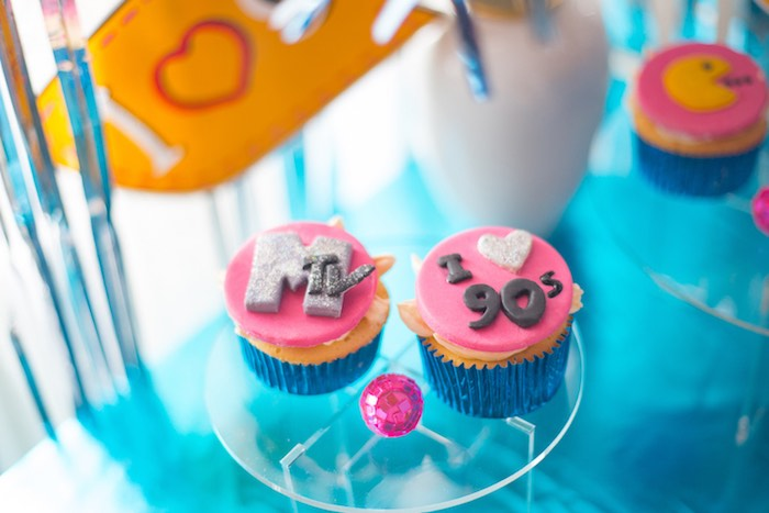 90's-inspired Cupcakes from a 90's Themed Birthday Party on Kara's Party Ideas | KarasPartyIdeas.com (19)
