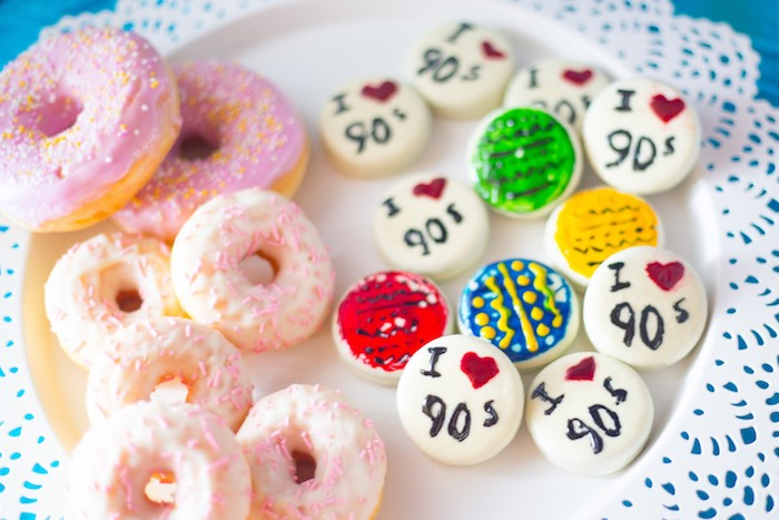 I Heart 90's Macarons + Cookies + Mini Doughnuts from a 90's Themed Birthday Party on Kara's Party Ideas | KarasPartyIdeas.com (18)