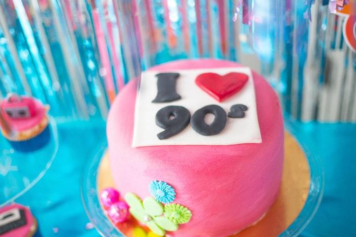 I Heart 90's Cake from a 90's Themed Birthday Party on Kara's Party Ideas | KarasPartyIdeas.com (15)
