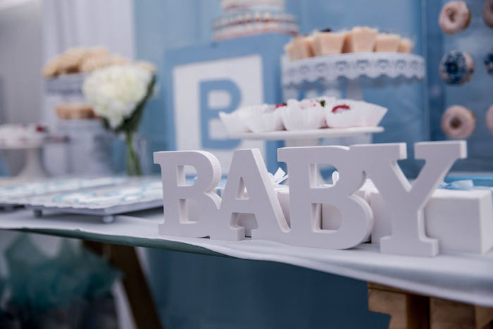 BABY Block Letter Sign from a Baby Blue Baby Shower on Kara's Party Ideas | KarasPartyIdeas.com (10)