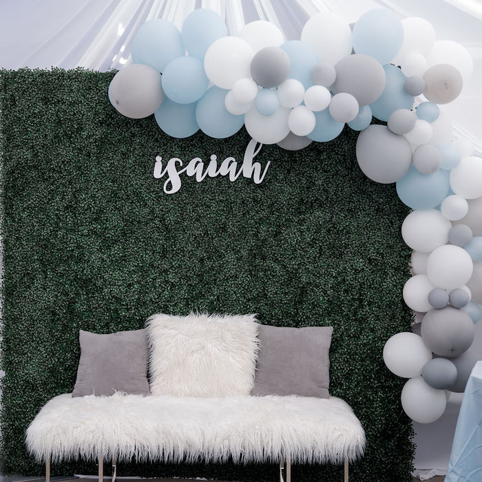 Blue + White & Gray Photo Lounge from a Baby Blue Baby Shower on Kara's Party Ideas | KarasPartyIdeas.com (9)