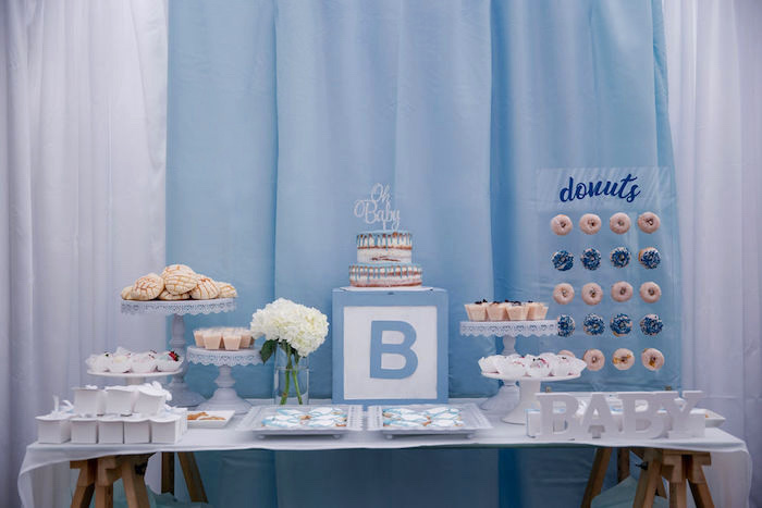 Boy Baby Shower Party Table from a Baby Blue Baby Shower on Kara's Party Ideas | KarasPartyIdeas.com (7)