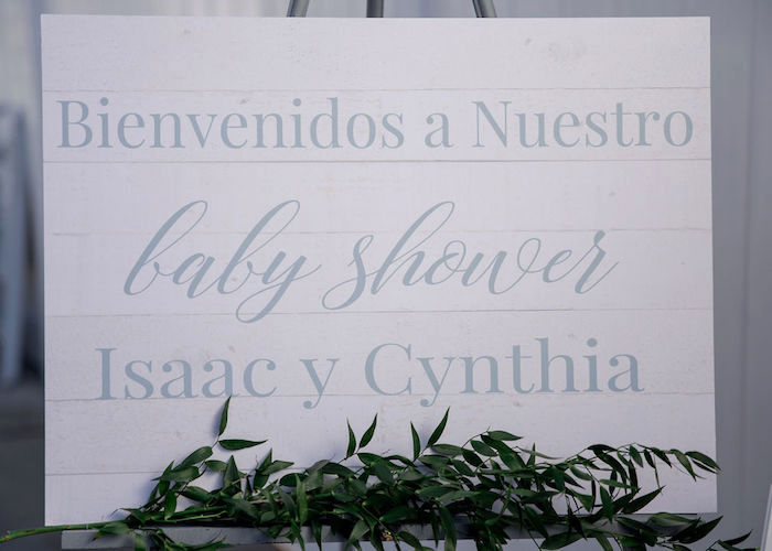 White-washed Wood Sign from a Baby Blue Baby Shower on Kara's Party Ideas | KarasPartyIdeas.com (5)
