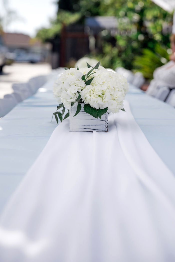 White Hydrangea Centerpiece + Guest Table from a Baby Blue Baby Shower on Kara's Party Ideas | KarasPartyIdeas.com (20)
