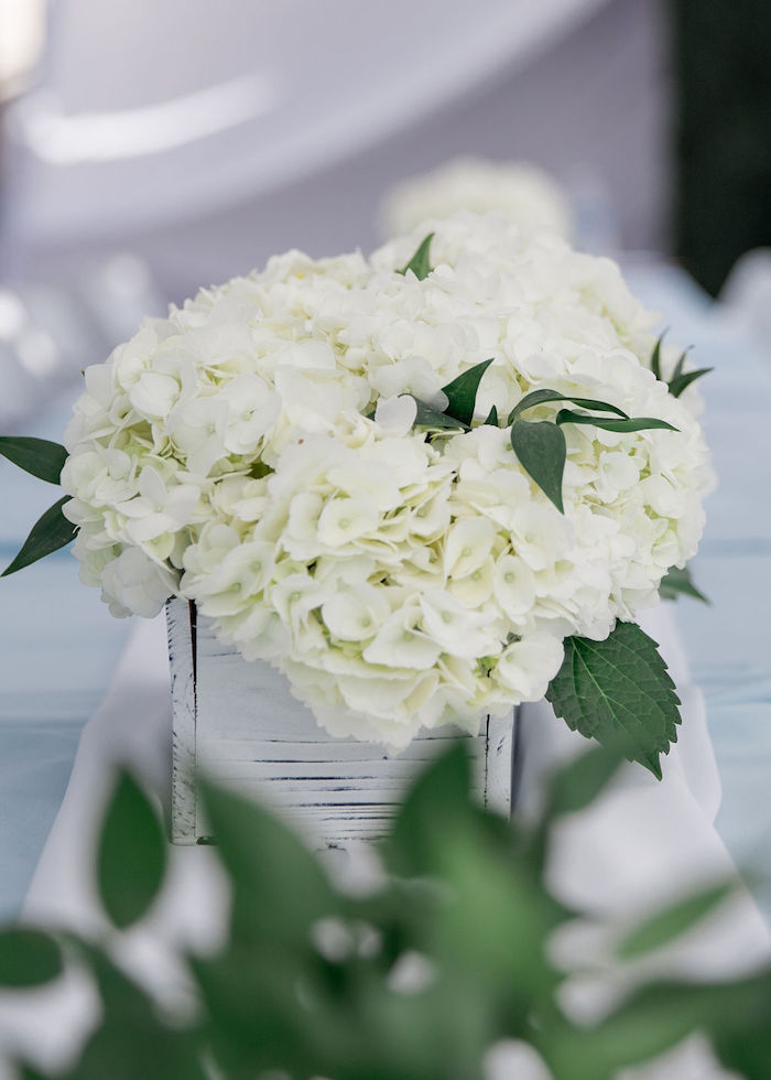 White Hydrangeas from a Baby Blue Baby Shower on Kara's Party Ideas | KarasPartyIdeas.com (19)