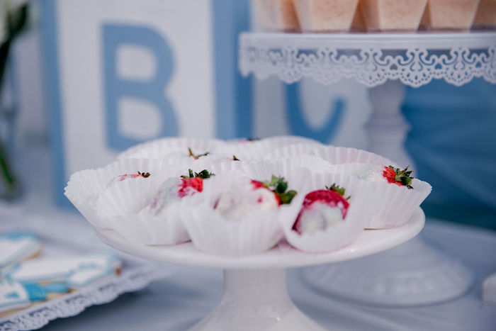 Strawberries from a Baby Blue Baby Shower on Kara's Party Ideas | KarasPartyIdeas.com (18)