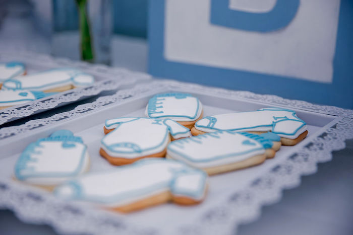 Baby Themed Sugar Cookies from a Baby Blue Baby Shower on Kara's Party Ideas | KarasPartyIdeas.com (17)