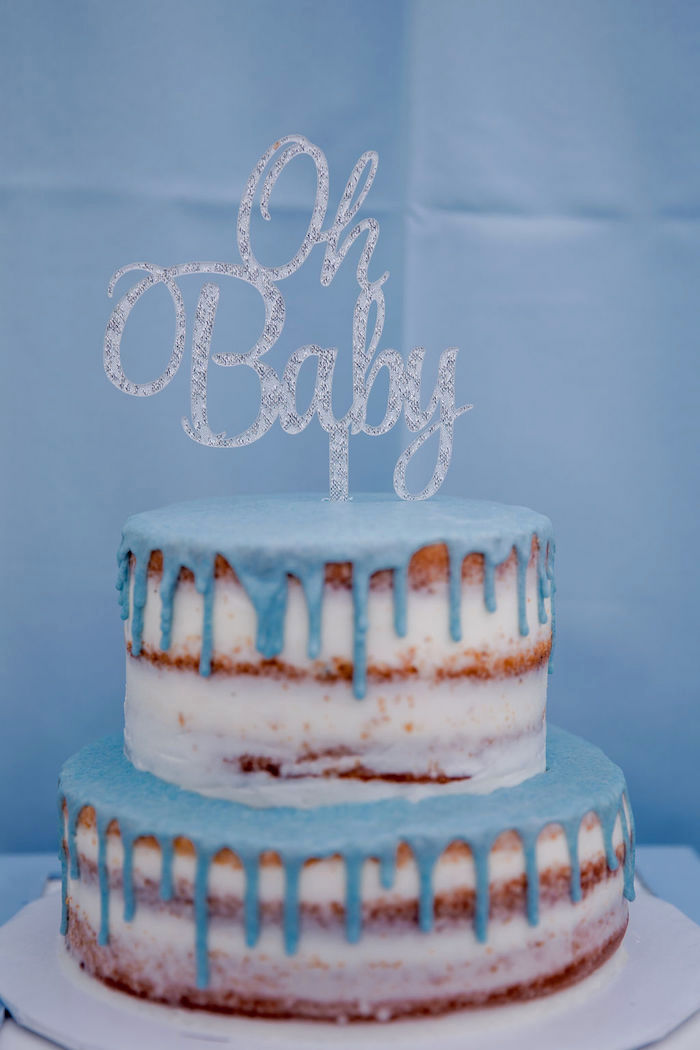 Blue Drizzled Naked Drip Cake from a Baby Blue Baby Shower on Kara's Party Ideas | KarasPartyIdeas.com (14)