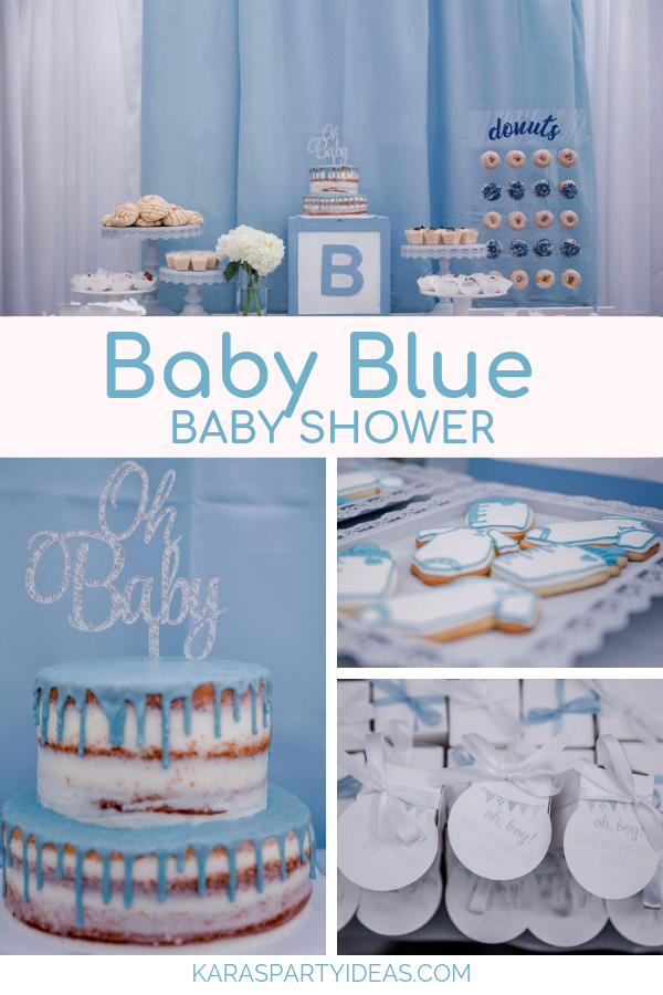 Baby Blue Baby Shower via Kara's Party Ideas - KarasPartyIdeas.com