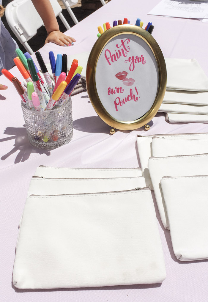 Pouch Painting Table from a Beauty Boutique Garden Party on Kara's Party Ideas | KarasPartyIdeas.com (19)