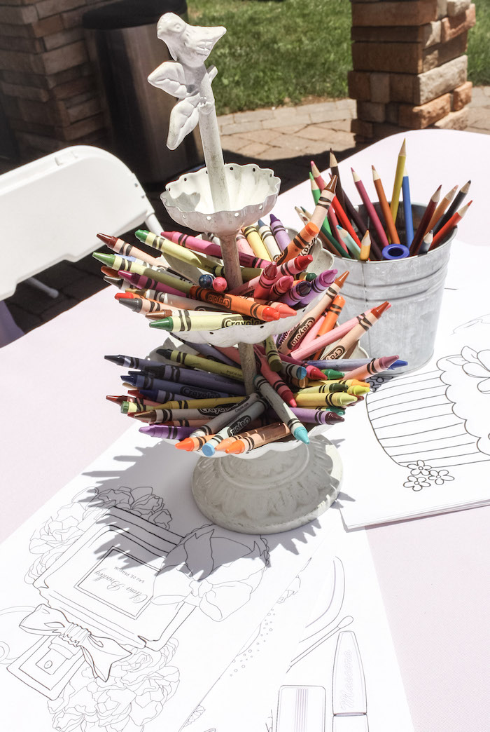 Coloring Table from a Beauty Boutique Garden Party on Kara's Party Ideas | KarasPartyIdeas.com (18)
