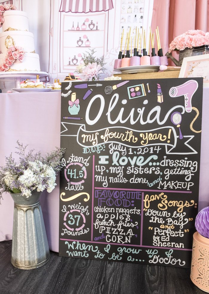 Beauty Themed Highlight Board from a Beauty Boutique Garden Party on Kara's Party Ideas | KarasPartyIdeas.com (15)