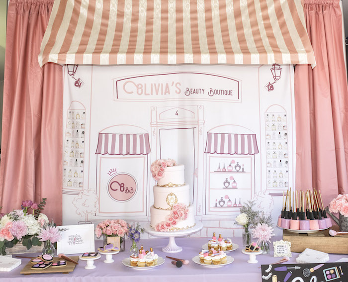 Beauty Boutique Dessert Table from a Beauty Boutique Garden Party on Kara's Party Ideas | KarasPartyIdeas.com (14)