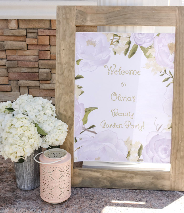 Floral Welcome Sign + Print from a Beauty Boutique Garden Party on Kara's Party Ideas | KarasPartyIdeas.com (28)