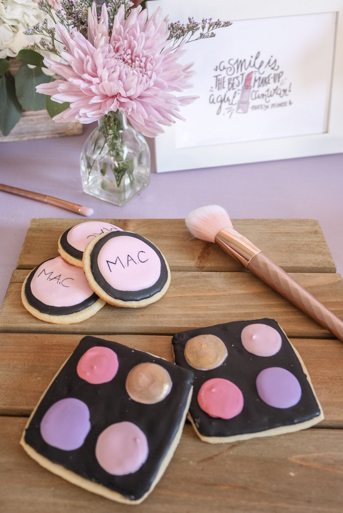 Makeup Palette Sugar Cookies from a Beauty Boutique Garden Party on Kara's Party Ideas | KarasPartyIdeas.com (9)