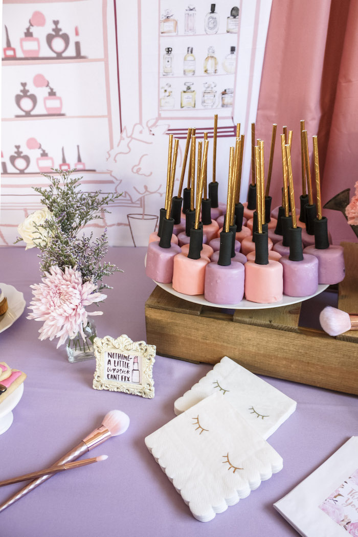 Nail Polish Cake Pops from a Beauty Boutique Garden Party on Kara's Party Ideas | KarasPartyIdeas.com (7)