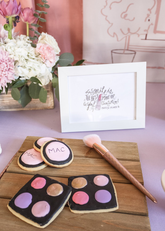 Makeup Palette Cookies from a Beauty Boutique Garden Party on Kara's Party Ideas | KarasPartyIdeas.com (25)