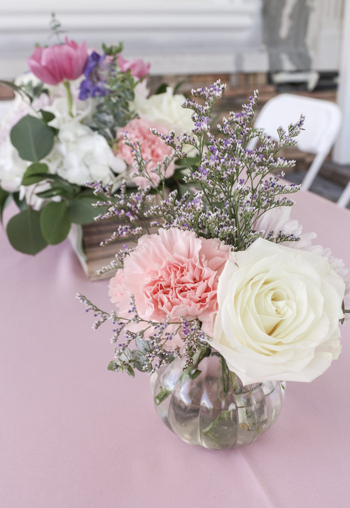 Floral Centerpiece from a Beauty Boutique Garden Party on Kara's Party Ideas | KarasPartyIdeas.com (21)