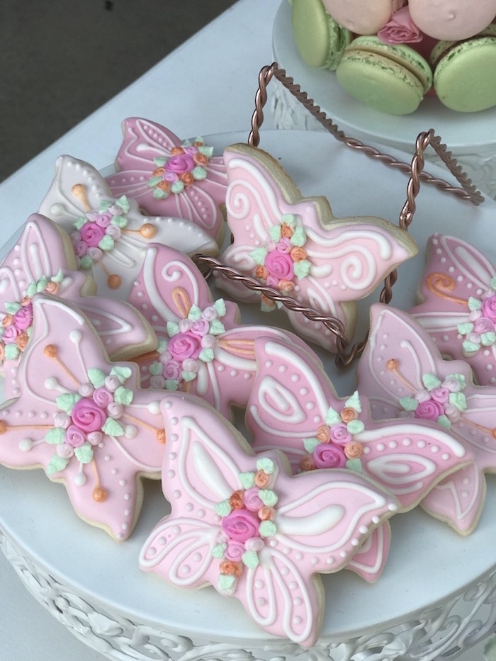 Butterfly Cookies from a Butterfly Garden Birthday Party on Kara's Party Ideas | KarasPartyIdeas.com (12)