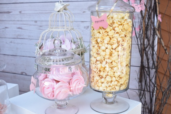 Popcorn + Meringues in Apothecary Jars from a Butterfly Garden Birthday Party on Kara's Party Ideas | KarasPartyIdeas.com (18)