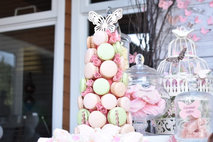Butterfly-topped Macaron Tower from a Butterfly Garden Birthday Party on Kara's Party Ideas | KarasPartyIdeas.com (15)