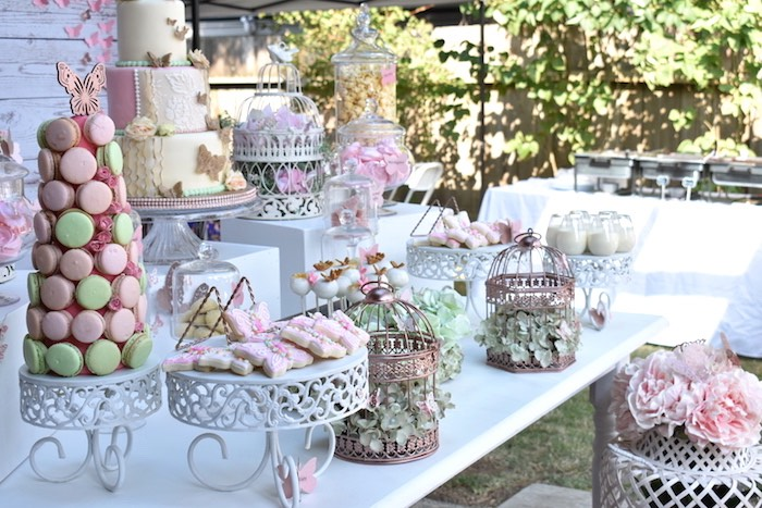Butterfly Dessert Table from a Butterfly Garden Birthday Party on Kara's Party Ideas | KarasPartyIdeas.com (14)