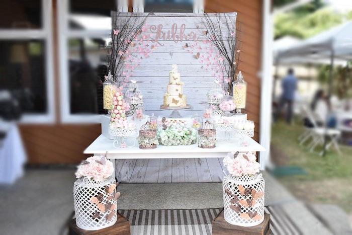 Butterfly Garden Birthday Party Table on Kara's Party Ideas | KarasPartyIdeas.com (13)