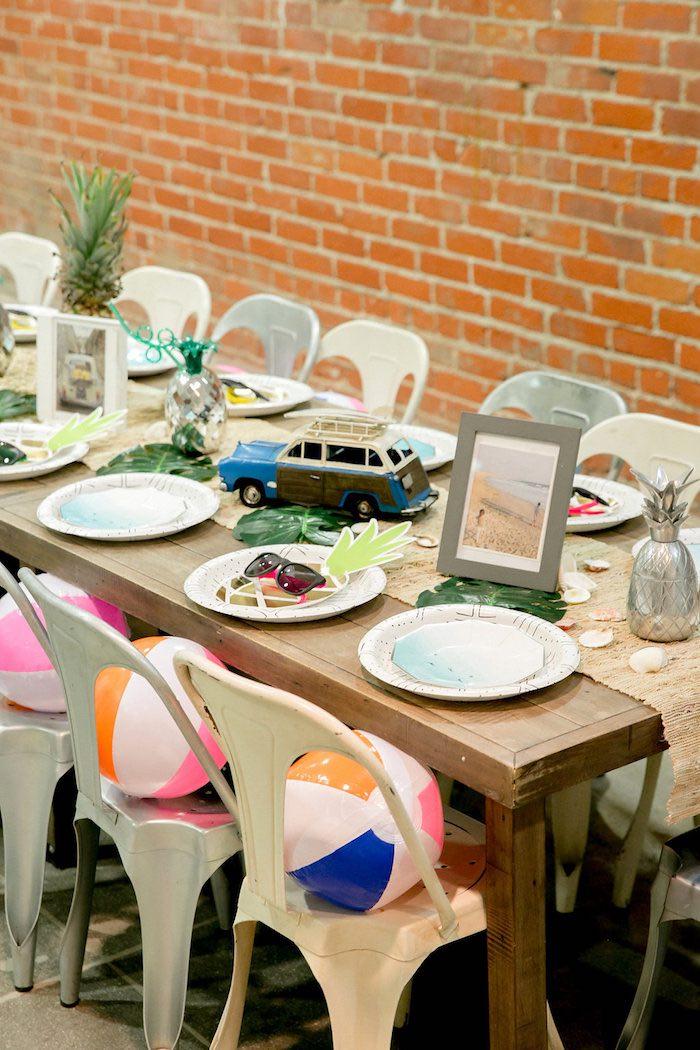 Beach Party Table from a California Dreamin' Birthday Bash on Kara's Party Ideas | KarasPartyIdeas.com (16)