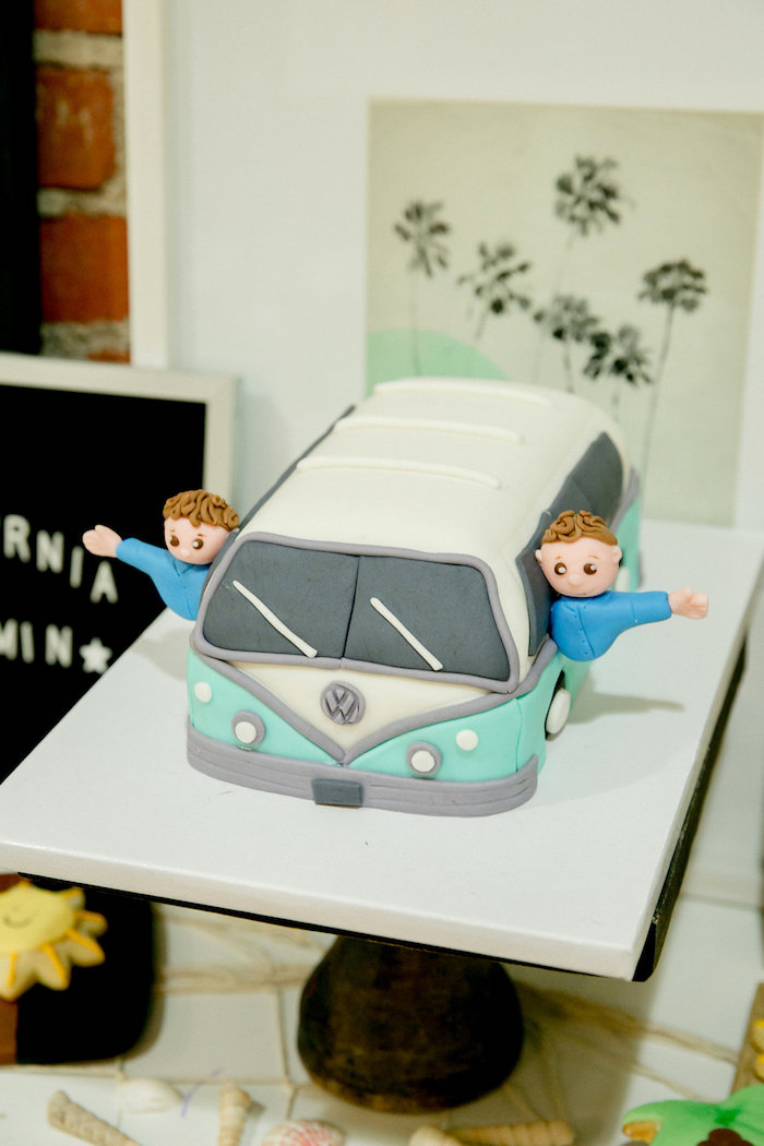 Vintage VW Van Cake from a California Dreamin' Birthday Bash on Kara's Party Ideas | KarasPartyIdeas.com (15)