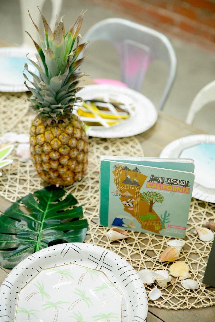 Tropical Table Decor from a California Dreamin' Birthday Bash on Kara's Party Ideas | KarasPartyIdeas.com (14)