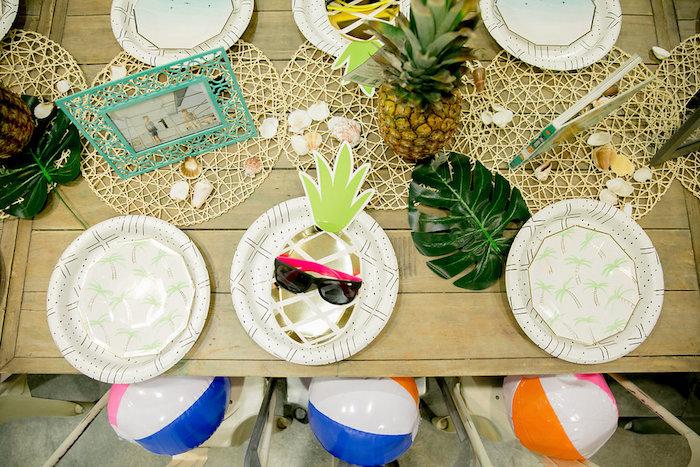 Tropical Party/Guest Table from a California Dreamin' Birthday Bash on Kara's Party Ideas | KarasPartyIdeas.com (12)