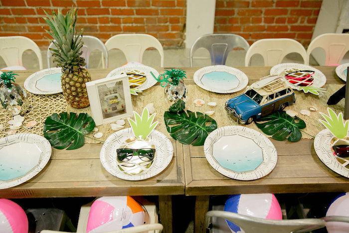 Tropical Party/Guest Table from a California Dreamin' Birthday Bash on Kara's Party Ideas | KarasPartyIdeas.com (11)