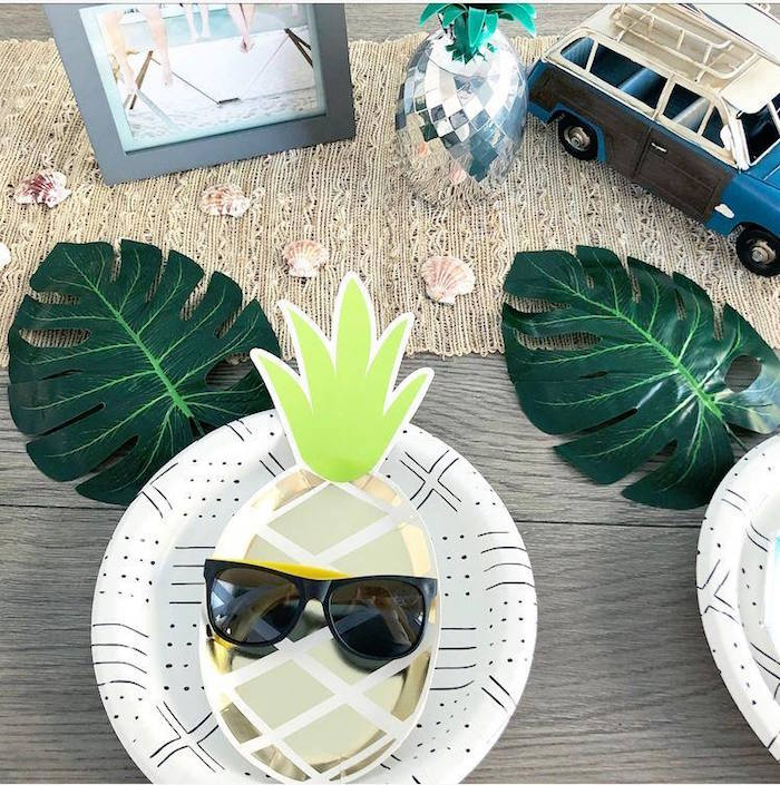 Pineapple Plate Table Setting from a California Dreamin' Birthday Bash on Kara's Party Ideas | KarasPartyIdeas.com (28)