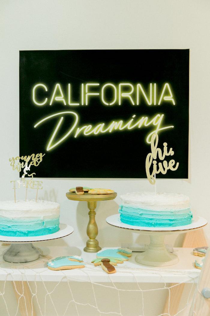 California Dreamin' Cake Table from a California Dreamin' Birthday Bash on Kara's Party Ideas | KarasPartyIdeas.com (9)