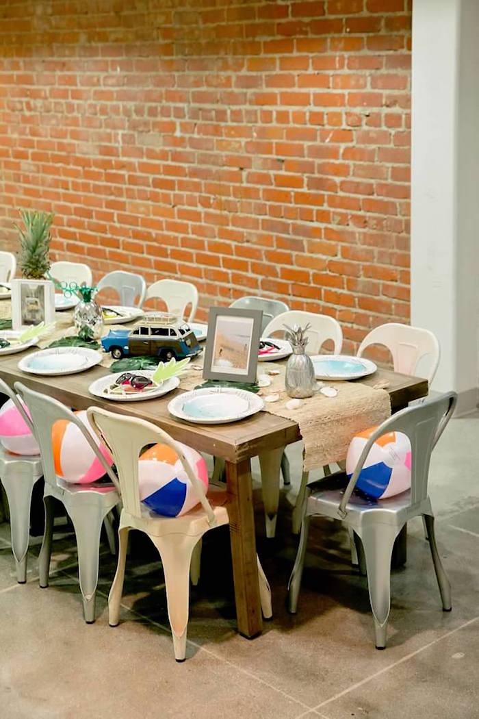 Tropical + Beach Themed Party Table from a California Dreamin' Birthday Bash on Kara's Party Ideas | KarasPartyIdeas.com (25)